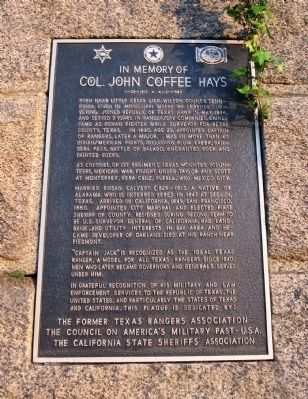In Memory of Col. John Coffee Hays Marker image. Click for full size.