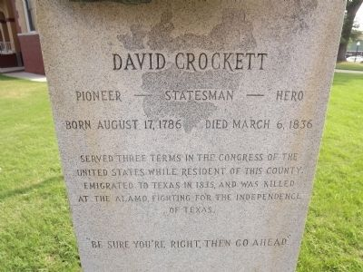 David Crockett Memorial Bust image. Click for full size.