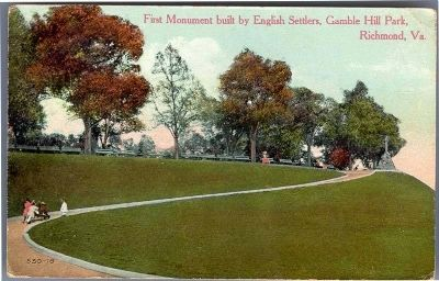 First Monument built by English Settlers, Gamble Hill Park, Richmond, Va. image. Click for full size.