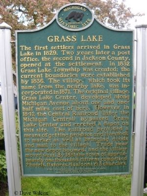 Grass Lake (Michigan) Marker image. Click for full size.