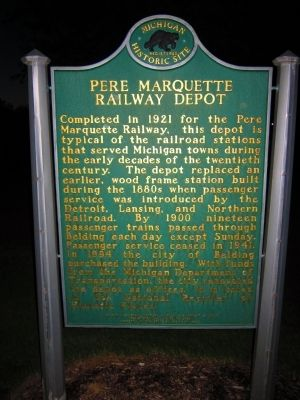 Pere Marquette Railway Depot Marker image. Click for full size.