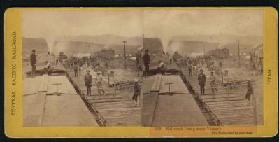 350. Railroad Camp near Victory. 10 1/4 miles laid in one day. image. Click for full size.