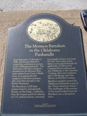 The Mormon Battalion in the Oklahoma Panhandle Marker image. Click for full size.