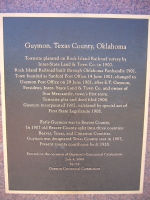 Guymon, Texas County, Oklahoma Marker image. Click for full size.