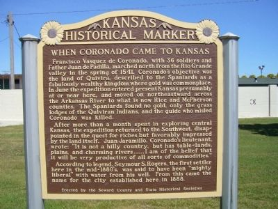 When Coronado came to Kansas Marker image. Click for full size.