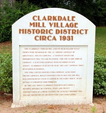 Clarkdale Mill Village Historic District Marker image. Click for full size.