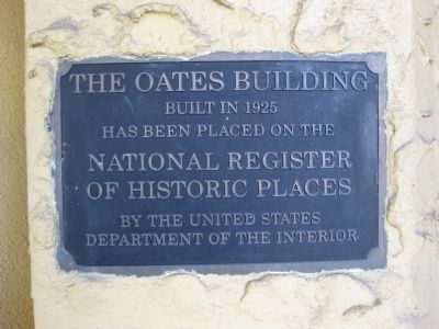 The Oates Building NRHP Plaque image. Click for full size.