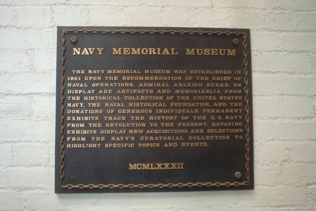 Plaque in vestibule at entrance to National Museum of the U.S. Navy (formerly; Navy Memorial Museum) image. Click for full size.