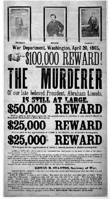 "Wanted poster for ""The Murderer"" and his ""accomplices"": Surratt and Harold image. Click for full size."
