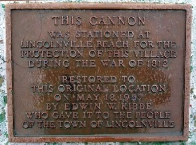 Lincolnville War of 1812 Cannon Marker image. Click for full size.
