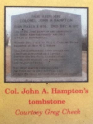 Col. John A. Hampton's tombstone (Courtesy Greg Cheek) image. Click for full size.