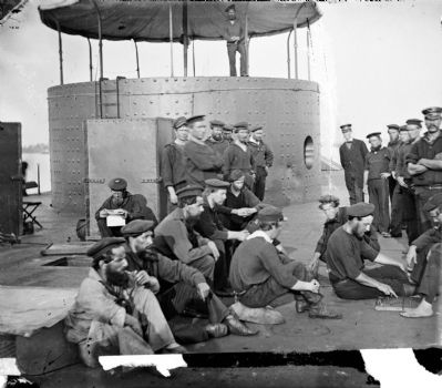 James River, Va. Sailors relaxing on deck of U.S.S. <i>Monitor</i> image. Click for full size.