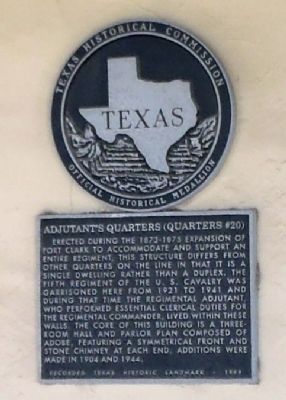 Adjutant's Quarters (Quarters #20) Marker image. Click for full size.