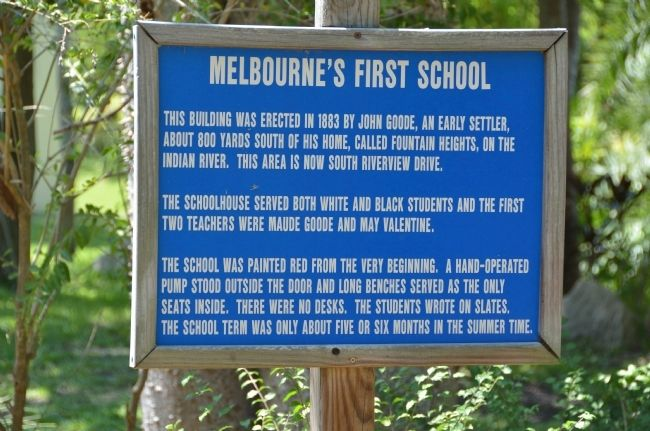 Melbourne's First School sign image. Click for full size.