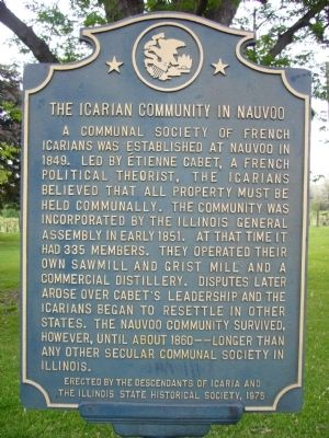 The Icarian Community in Nauvoo Marker image. Click for full size.