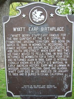 Wyatt Earp Birthplace Marker image. Click for full size.