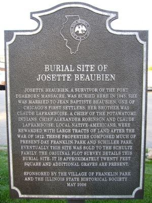 Burial Site of Josette Beaubien Marker image. Click for full size.