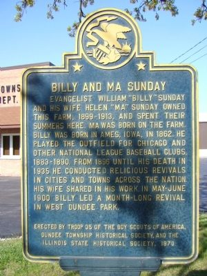 Billy and Ma Sunday Marker image. Click for full size.