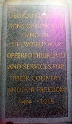 Bowdoin College World War Memorial image. Click for full size.