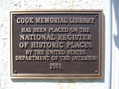 Cook Memorial Library Marker image. Click for full size.