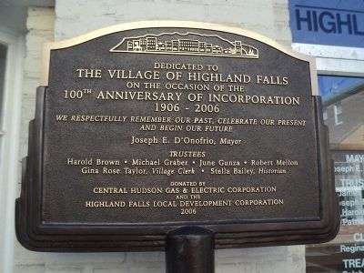 100th Anniversary of Highland Falls Marker image. Click for full size.