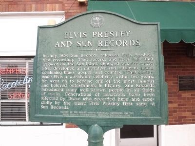 Elvis Presley and Sun Records Marker image. Click for full size.