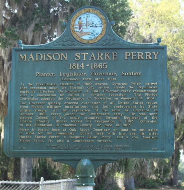 Madison Starke Perry Marker, reverse side