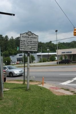 Sulphur Springs Marker, seen along Patton Avenue (U.S. 19) at Old Haywood Road image. Click for full size.
