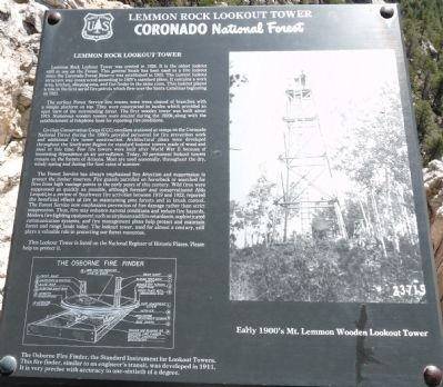 Lemmon Rock Lookout Tower Marker image. Click for full size.