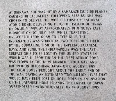 Panel Three - - USS Indianapolis CA-35 Marker image. Click for full size.