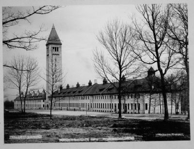Fort Sheridan - Water Tower-Barracks complex looking southeast across the parade grounds image. Click for full size.