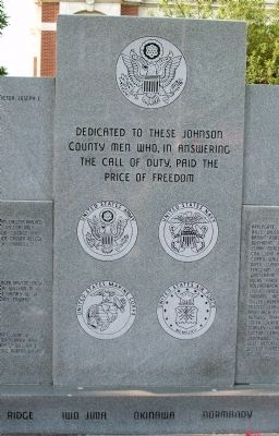 Center Section - - Johnson County War Memorial Honor Rolls Marker image. Click for full size.