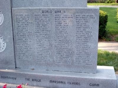 Right Lower Section - - Johnson County War Memorial Honor Rolls Marker image. Click for full size.