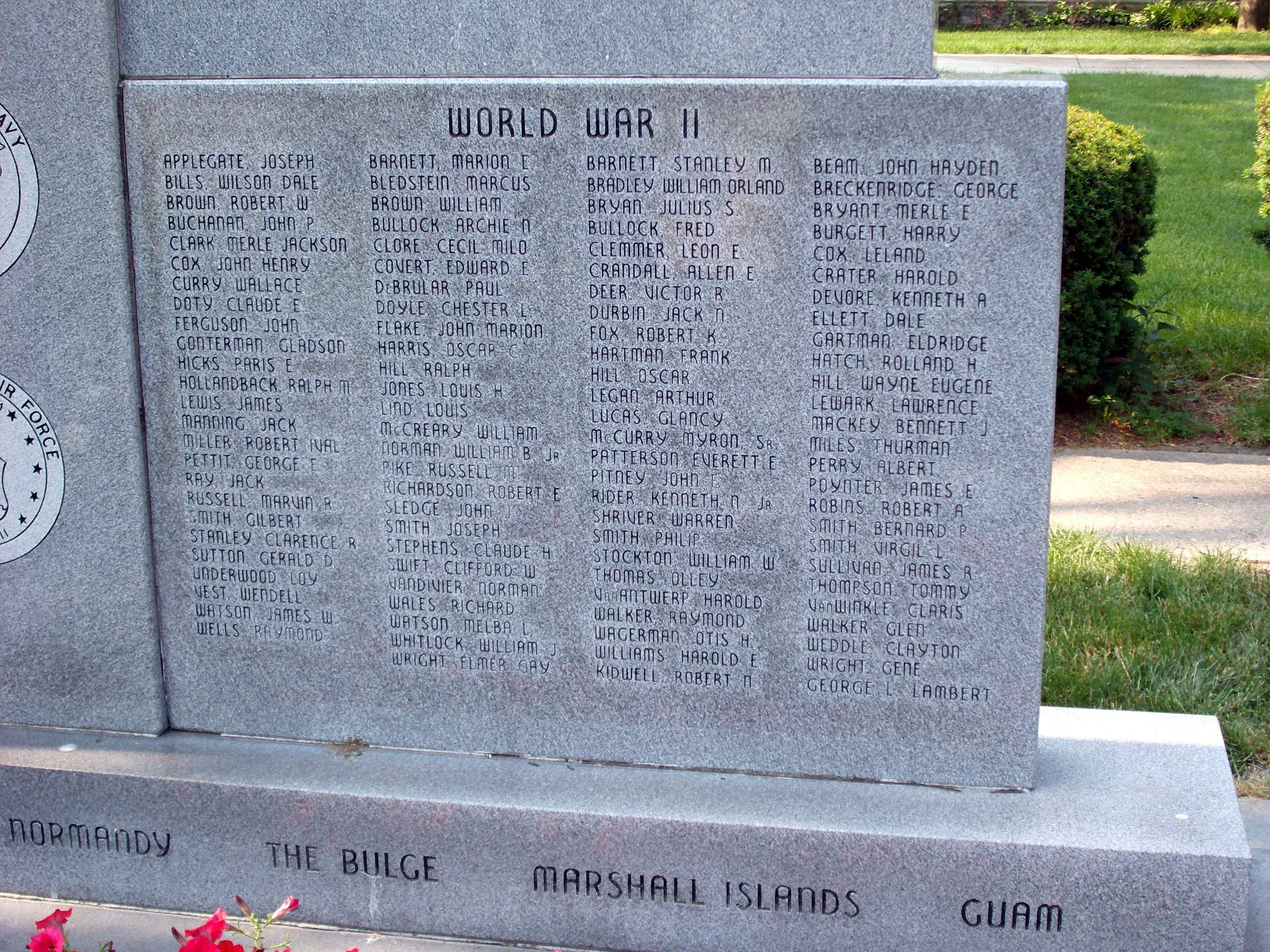 Right Lower Section - - Johnson County War Memorial Honor Rolls Marker