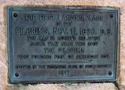 The Landing Place of the Pilgrims, Nov. 11, 1620, O.S. Marker image. Click for full size.