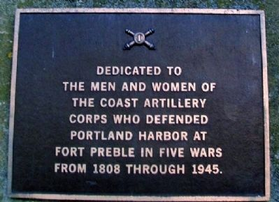 Coast Artillery Corps at Fort Preble Marker image. Click for full size.