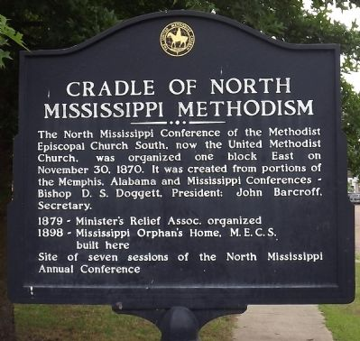 Cradle of North Mississippi Methodism Marker image. Click for full size.