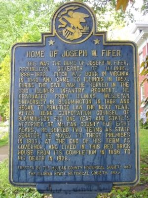Home of Joseph W. Fifer Marker image. Click for full size.