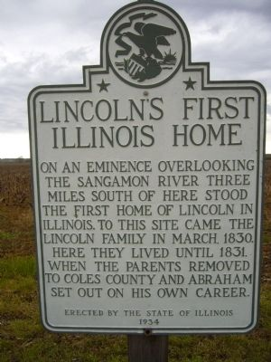 Lincoln's First Illinois Home Marker image. Click for full size.