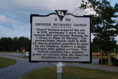 Ebenezer Methodist Church Marker<br>Reverse image. Click for full size.