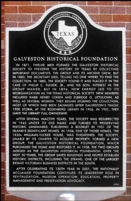 Galveston Historical Foundation Marker image. Click for full size.
