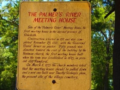 The Palmer's River Meeting House Marker image. Click for full size.