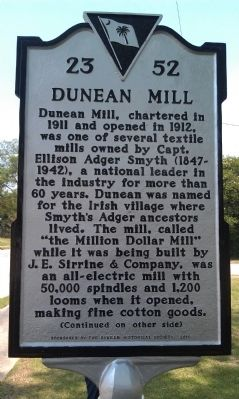 Dunean Mill Marker image. Click for full size.