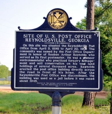 Side 1: Site of U.S. Post Office Reynoldsville, Georgia image. Click for full size.