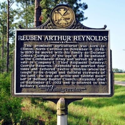 Side 2: Reuben Arthur Reynolds Marker image. Click for full size.