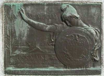 <i>USS Maine</i> Plaque on Spanish War and Philippine Insurrection Memorial image. Click for full size.