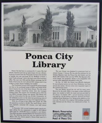 Ponca City Library Marker image. Click for full size.