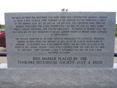 Camp Tonkawa Marker <i>(back)</i> image. Click for full size.