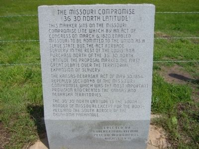 The Missouri Compromise Marker image. Click for full size.