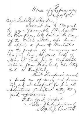 A Letter of Introduction to Major General Phil Sheridan image. Click for full size.